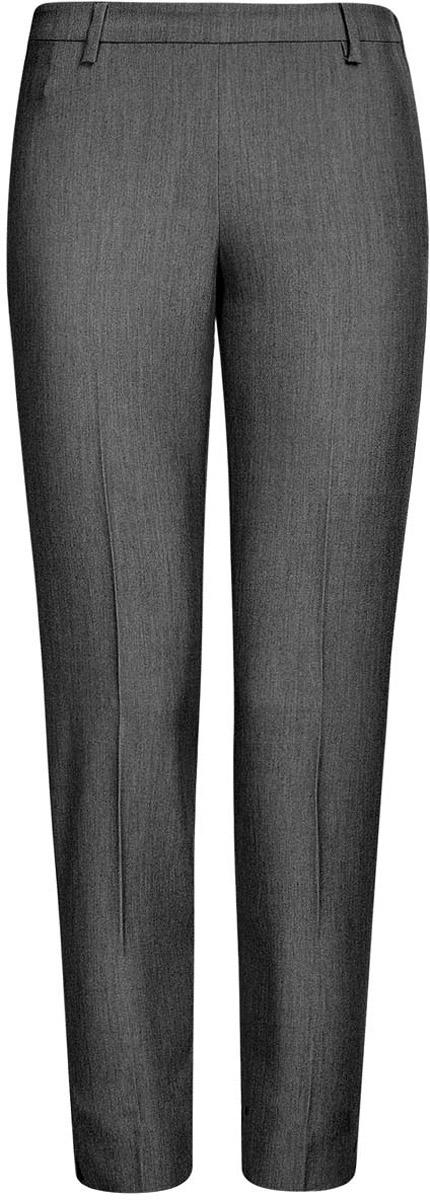 Брюки21706022-1/18600/2500MСтильные женские брюки oodji Collection изготовлены из качественного комбинированного материала. Модель прямого кроя, немного укороченная, застегивается на потайную пуговицу в поясе и и застежку молнию по боковому шву, имеются шлевки для ремня. Брюки со стандартной талией оформлены сзади имитацией прорезного кармана.