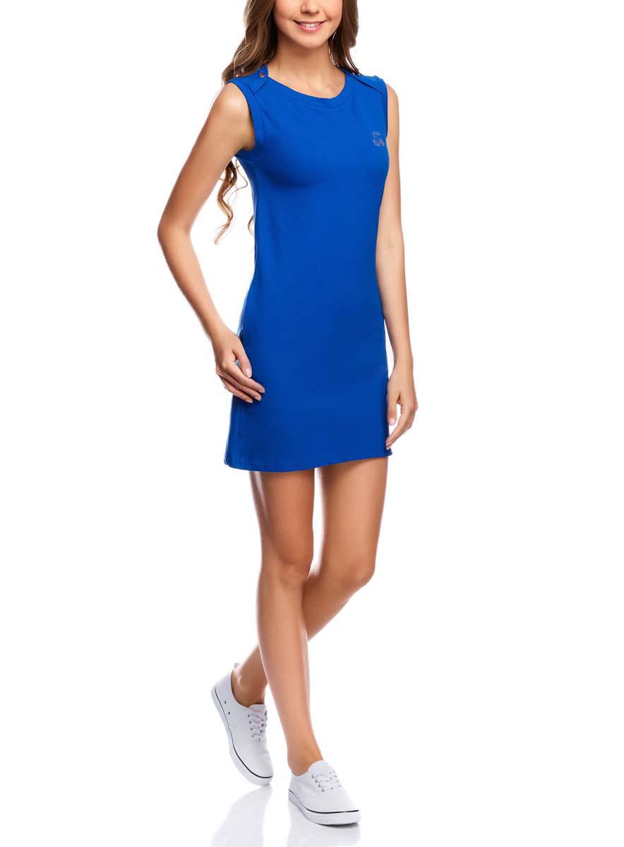 Платье14005074-1/45602/7900NПлатье oodji Ultra выполнено из хлопка с добавлением полиуретана. Модель с круглым вырезом горловины, втачными карманами по бокам, небольшим принтом из страз на груди и без рукавов.