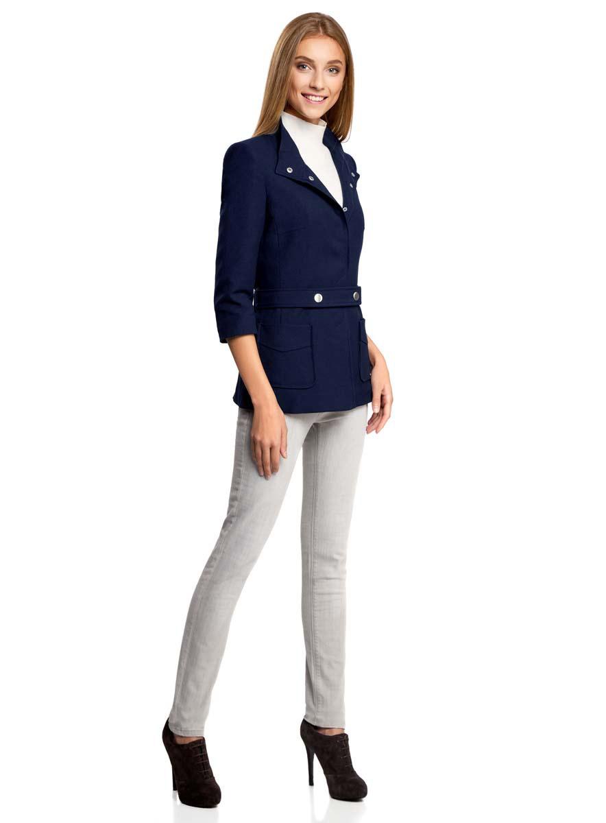 Куртка20304037/42026/3300NКуртка женская oodji Collection приталенного силуэта исполнена из высококачественного материала устойчивого к деформации. Изделие имеет рукава 3/4, воротник-стойку и два накладных кармана по низу. Застегивается на скрытые кнопки. В комплекте имеется пояс.