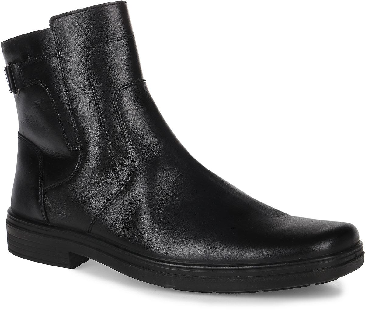 45032Мужские ботинки от Marko выполнены из натуральной кожи. Боковая сторона дополнена застежкой-молнией. Щиколотка декорирована ремешком с металлическим элементом. Подкладка и стелька изготовлены из натурального меха. Полиуретановая подошва оснащена рифлением.