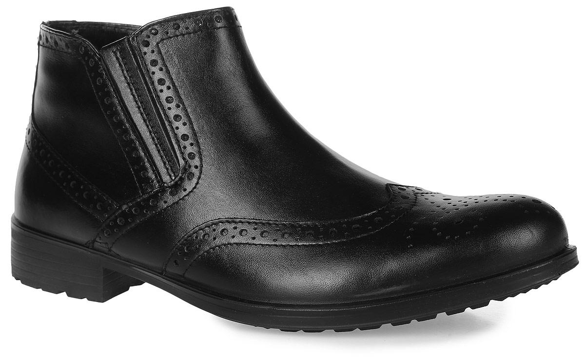 42069Стильные мужские ботинки Collection от Marko выполнены из натуральной кожи и оформлены декоративной перфорацией в стиле брог. Подкладка и стелька из шерстяного меха не дадут ногам замерзнуть. Застегивается модель на боковую-застежку-молнию. Эластичные вставки с одной из боковых сторон обеспечивают идеальную посадку модели на ноге. Подошва и каблук дополнены рифлением.