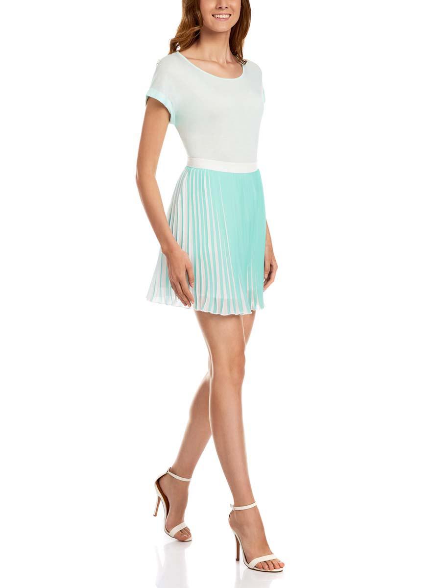 11600350-1/17358/7379GЛегкая юбка oodji Ultra выполнена из качественного полиэстера. Юбка-мини застегивается сзади на молнию. Юбка оформлена мелкими плиссированными складками. Изделие дополнено подкладкой.