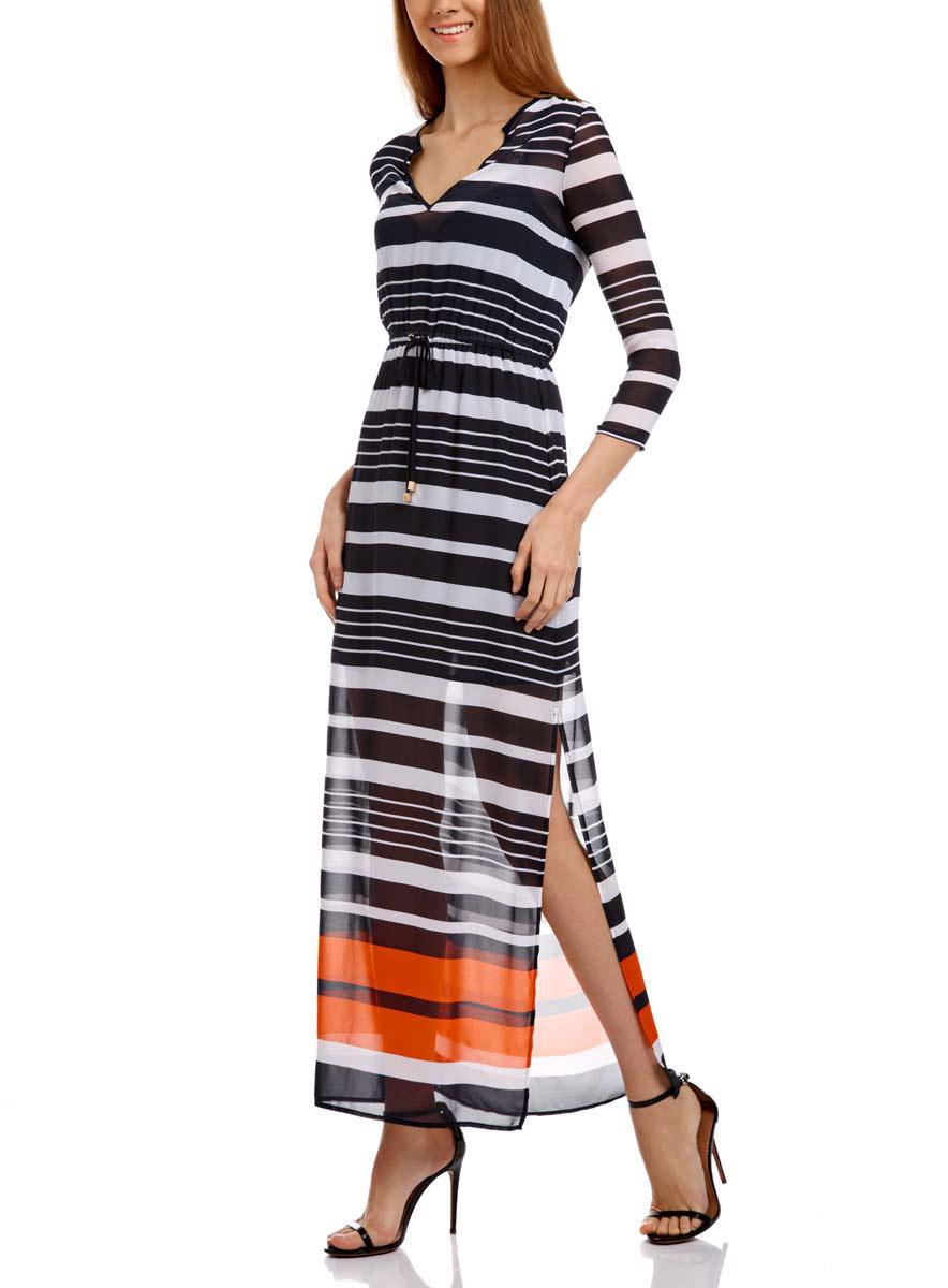 Платье21911018/17358/1079SДлинное платье oodji Collection изготовлено из тонкого шифона. Модель выполнена с V-образным вырезом и рукавами 3/4. На талии платье собрано на вшитую резинку и дополнено шнурком-завязкой. По бокам у модели имеются глубокие разрезы, внутри - короткое нижнее платьице на бретельках.