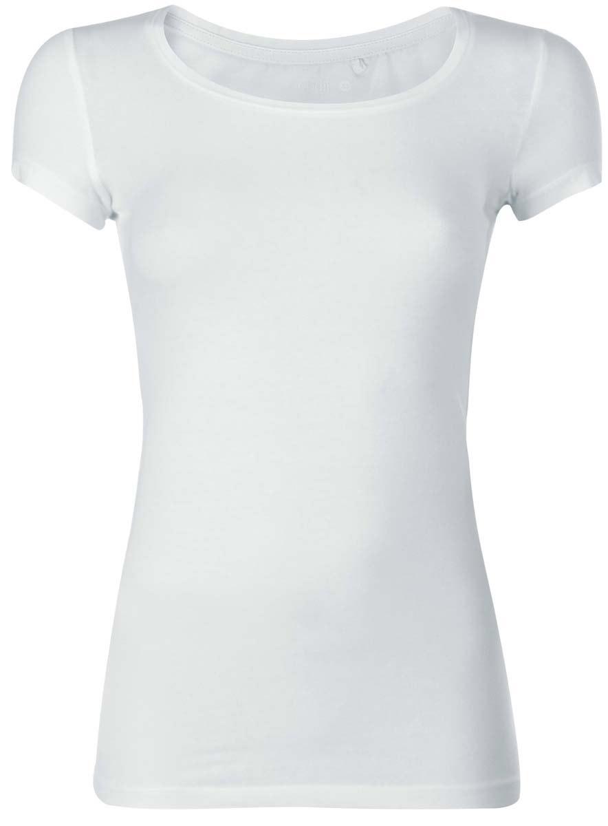 14701005-7B/35918/1000NОднотонная женская футболка oodji Ultra выполнена из хлопка с добавлением эластана. Модель с круглым вырезом горловины и стандартными короткими рукавами.