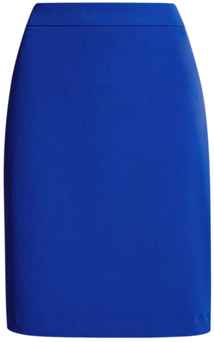 21611105-5B/18600/7300NЮбка-карандаш oodji Collection выполнена из полиэстера с добавлением вискозы и полиуретана, подкладка - из полиэстера. Модель длины миди. Сзади изделие дополнено потайной застежкой-молнией и шлицей.