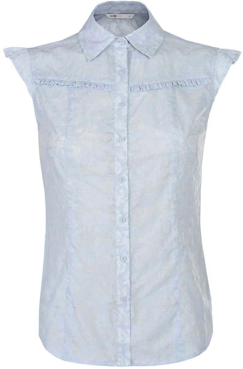 Блузка11405092-4/26528/4000NПриталенная блузка от oodji Ultra выполнена из полиэстера с добавлением хлопка. Модель с отложным воротником и без рукавов. Изделие декорировано оборками. Блузка оформлена нежным принтом, спереди застегивается на пуговицы.