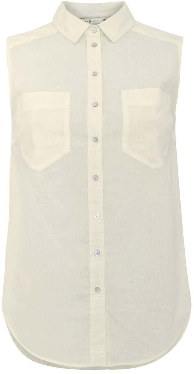Блузка11401250B/45510/1000NЖенская блузка oodji Ultra выполнена из хлопка. Модель с отложным воротником, спереди застегивается на пуговицы и дополнена нагрудными карманами. У изделия удлиненная спинка и полукруглый подол.