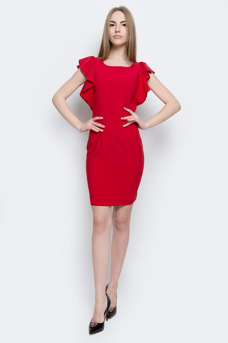 101652Стильное платье Milana Style изготовлено из полиэстера с добавлением вискозы и лайкры. Модель-миди с круглым вырезом горловины и короткими рукавами-крылышками застегивается на застежку-молнию, расположенную на спинке. Снизу задняя часть модели оформлена вырезом.
