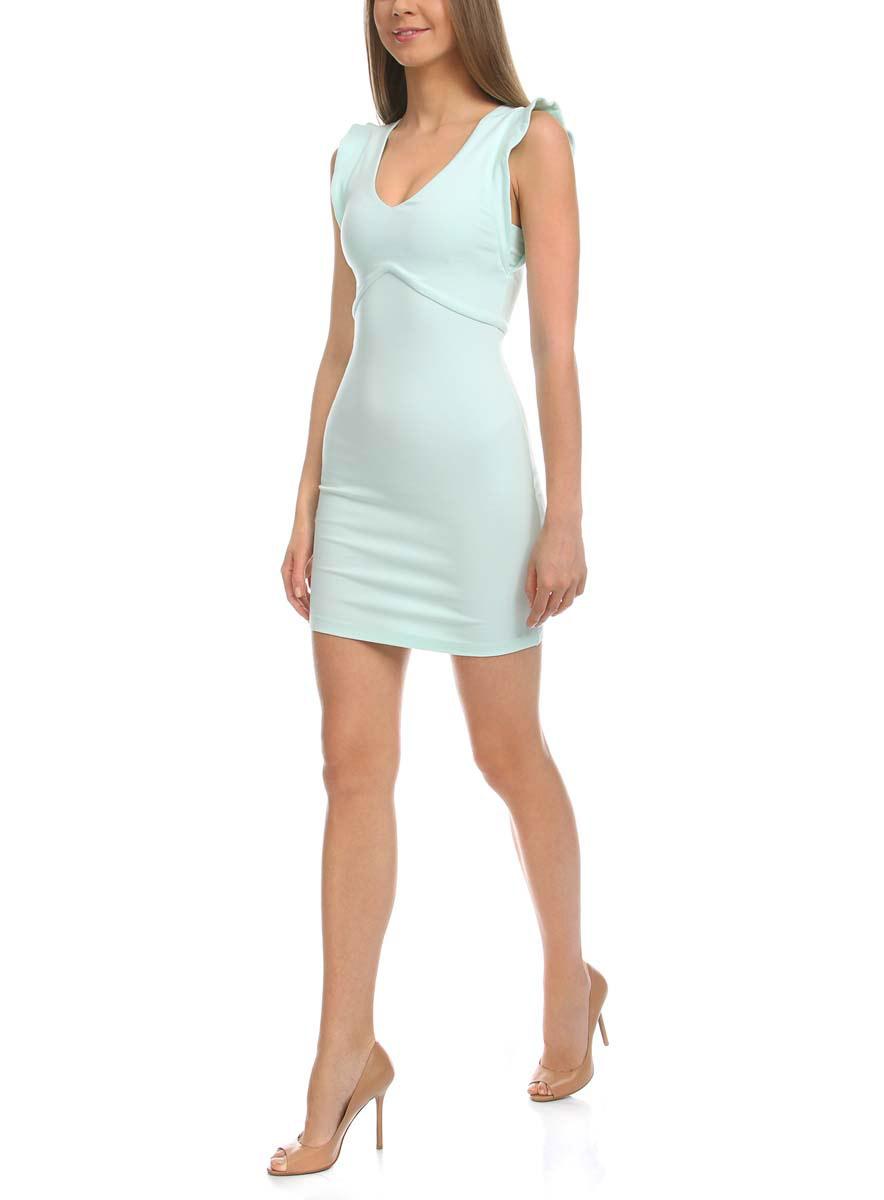 14015004/45394/7000NПлатье oodji Ultra выполнено из мягкой эластичной облегающей ткани. Изделие имеет V-образный вырез горловины и рукава-крылышки. Застегивается на спинке на молнию. Платье плотно садится по фигуре.
