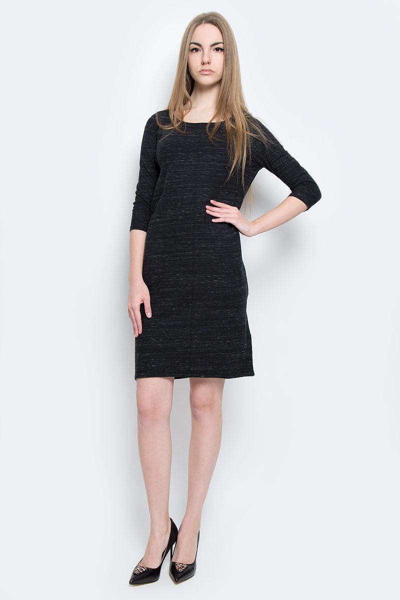 Платье308159193/990Платье Marc OPolo выполнено их хлопка с добавлением шерсти. Платье-миди с круглым вырезом горловины и рукавами длинной 3/4. Платье дополнено втачными карманами расположенными в боковых швах.