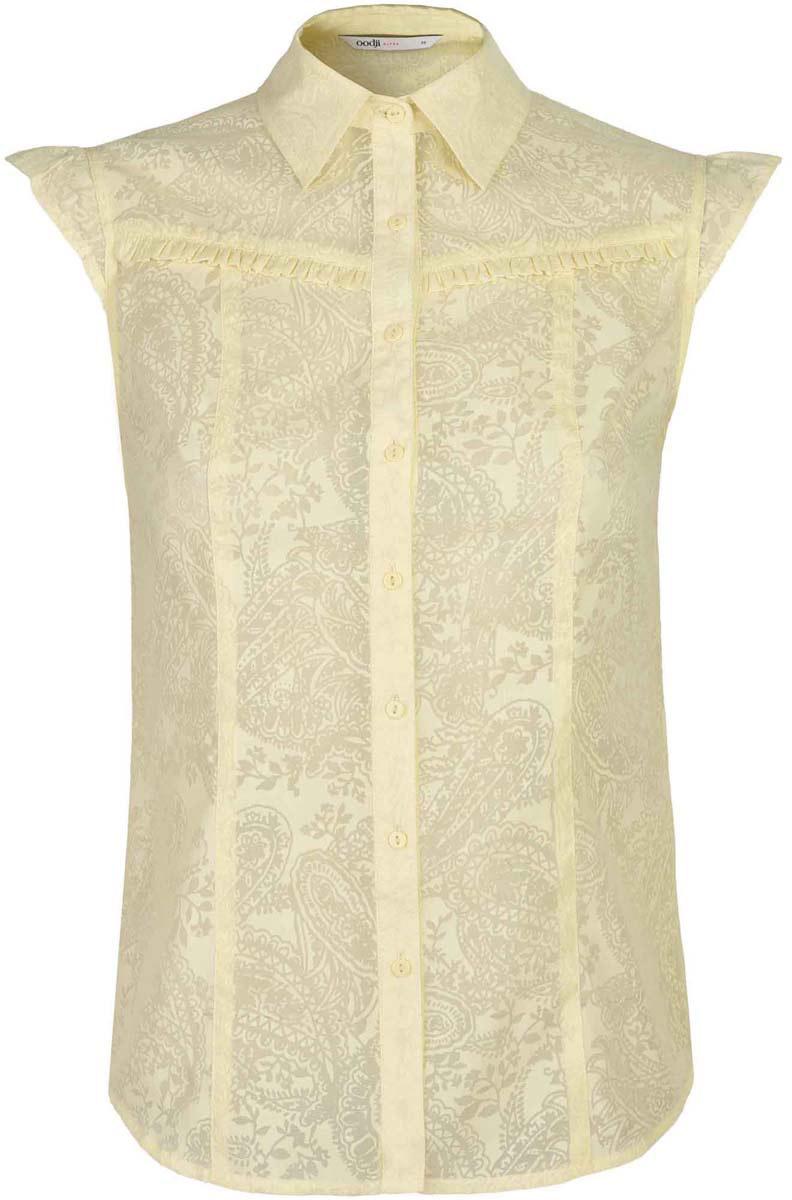 Блузка11405092-5/26206/7900NЖенская блузка oodji Ultra выполнена из полиэстера с добавлением хлопка. Модель с отложным воротником и рукавами крылышко застегивается на пуговицы.