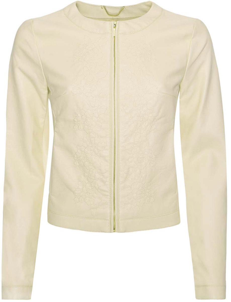 Куртка10304290/18432/5000NЖенская куртка oodji Ultra выполнена с использованием двух видов материала. Перед изделия и часть рукавов имитируют кожу. Куртка имеет два скрытых кармана по бокам от талии, круглый вырез воротника и оформлена прошитыми узорами, застегивается на груди на молнию.