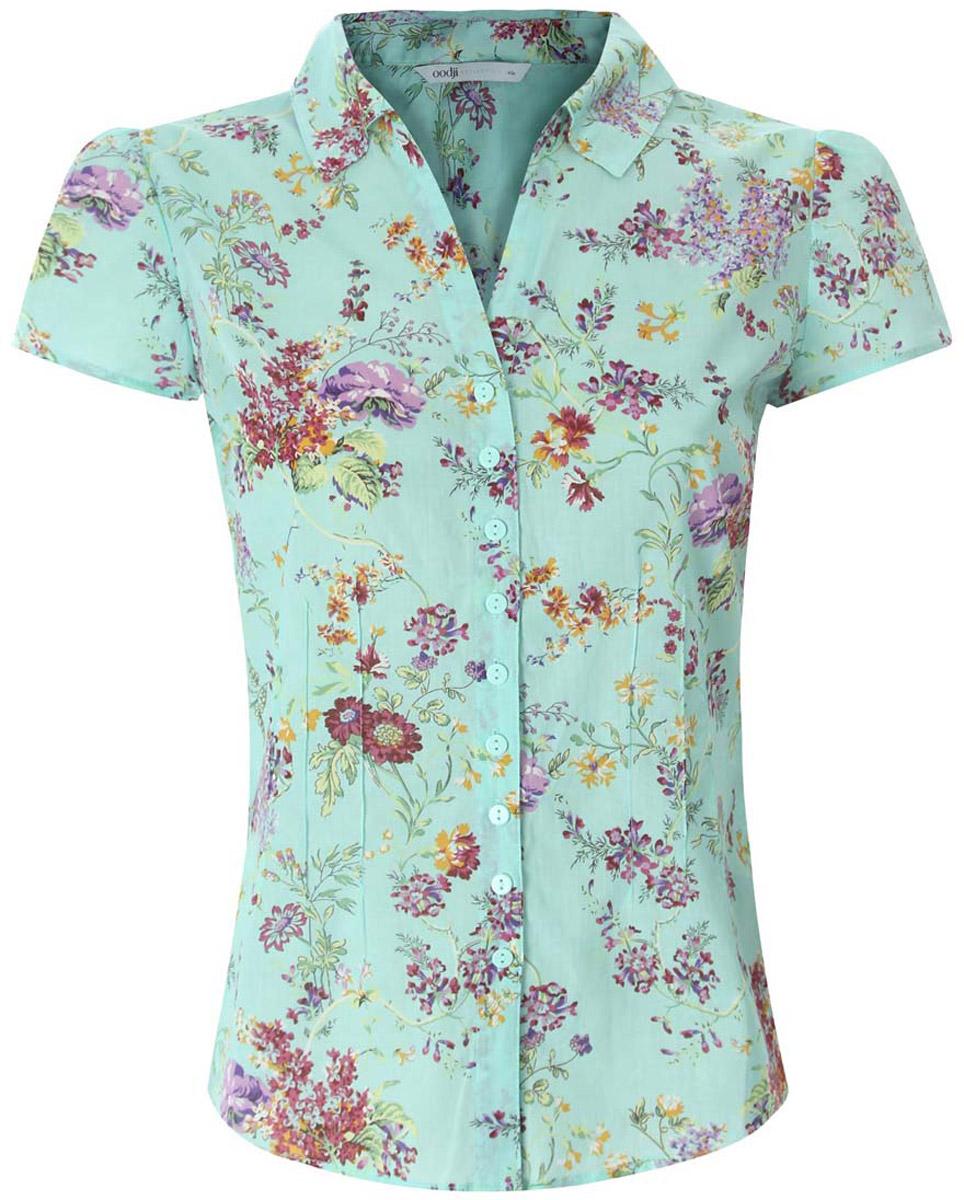 Блузка21407022-9/12836/1019FСтильная блузка oodji Collection выполнена из натурального хлопка. Модель, оформленная короткими рукавами и отложным воротником, застегивается на пуговицы. Блузка декорирована продольными вытачками и принтом с яркими цветами.
