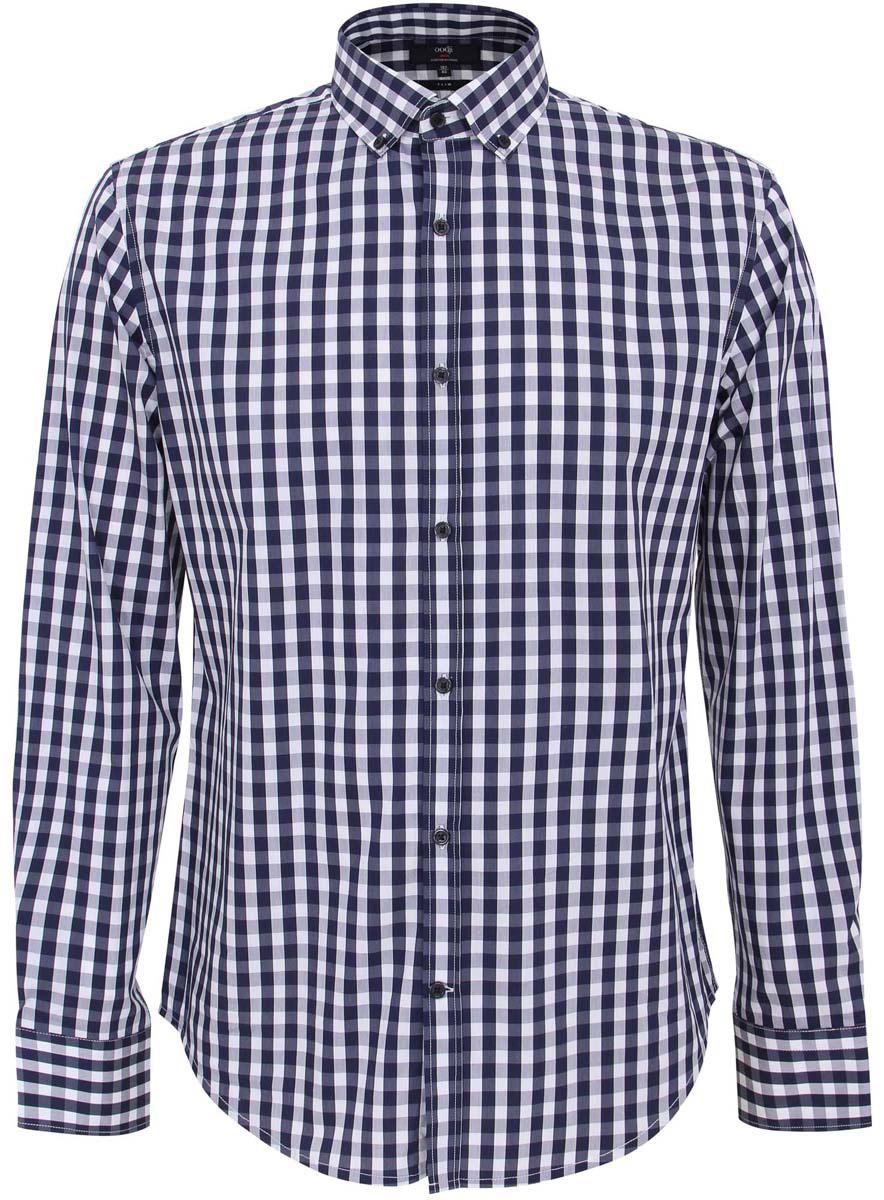 Рубашка3L110135M/39767N/7910CМужская рубашка oodji Lab выполнена из комбинированного материала. Модель с отложным воротником и длинными рукавами застегивается на пуговицы.