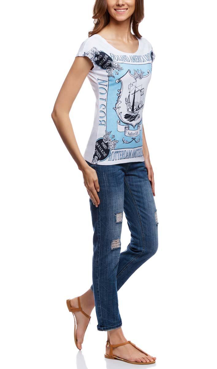 Футболка14702001/35927/1043PСтильная женская футболка oodji Ultra выполнена из 100% хлопка. Модель с круглым вырезом горловины и короткими цельнокроеными рукавами. Футболка оформлена красивым рисунком и надписями.