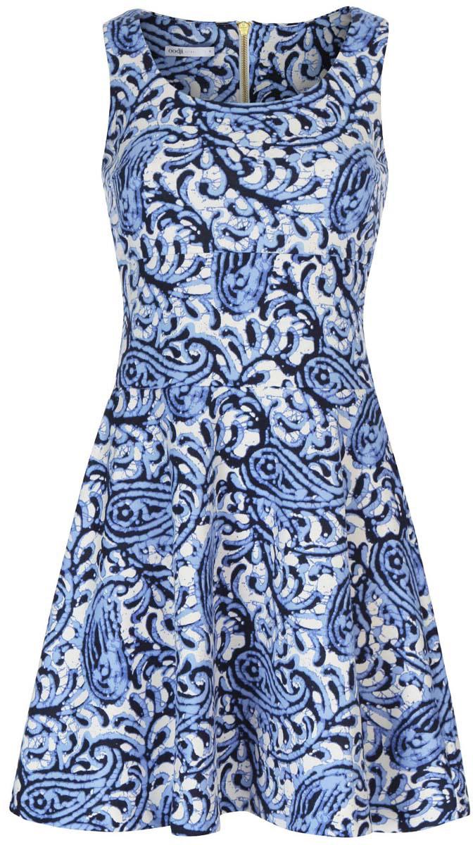 Платье14015005/45446/1275EМодное платье oodji Ultra станет отличным дополнением к вашему гардеробу. Модель выполнена из качественного полиэстера с добавлением эластана. Платье-миди без рукавов с круглым вырезом горловины застегивается сзади по спинке на застежку-молнию. Оформлена модель интересным принтом с узором.