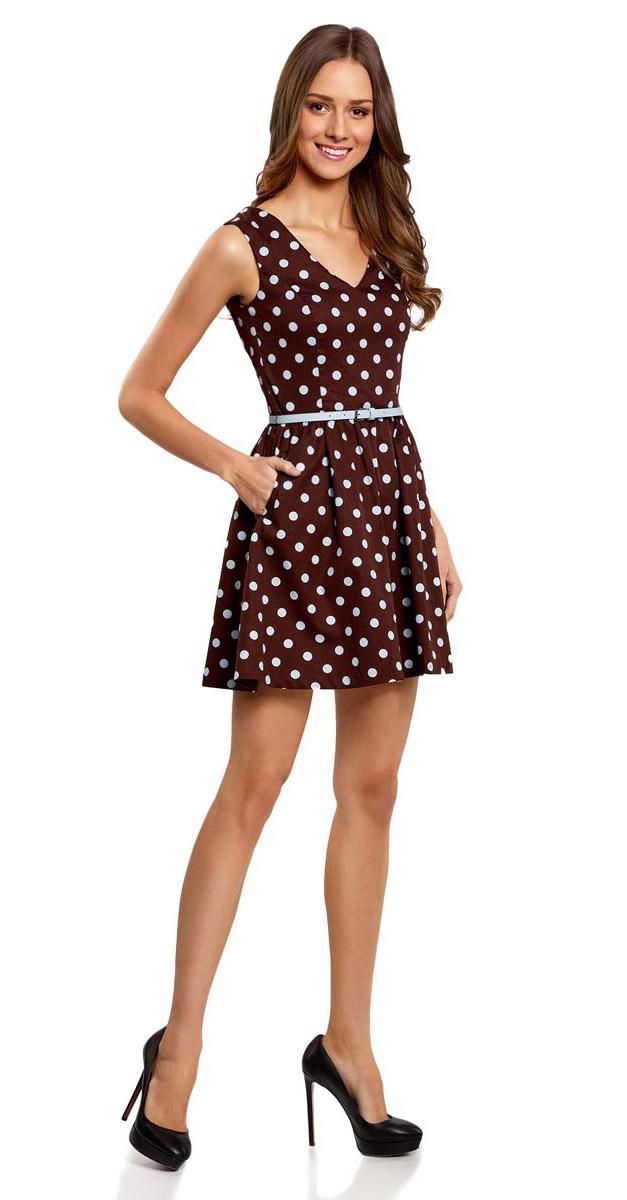 Платье11913021/19766/1279DПлатье oodji Ultra без рукавов имеет V-образный вырез на груди и спинке, пышную юбку, карманы по бокам от талии. Изделие дополнено пояском с металлической пряжкой.