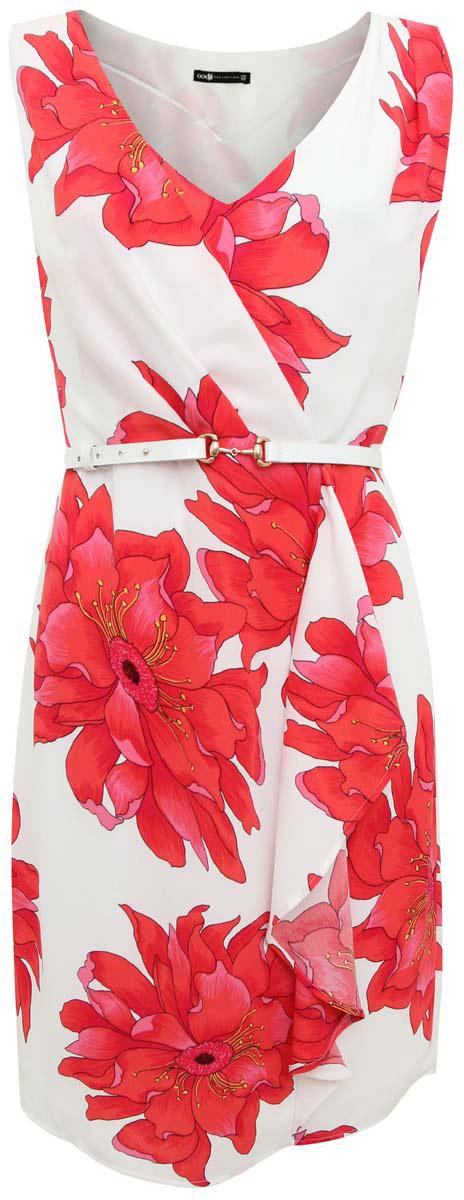 Платье21901140/35541/104DFСтильно платье oodji Collection полностью выполнено из полиэстера. Модель с V-образным вырезом горловины и без рукавов застегивается сбоку на молнию. В комплект входит тонкий ремень.