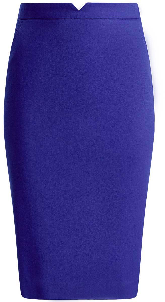 11600387-3/18854/5100NЮбка oodji Ultra выполнена из натурального хлопка с добавлением эластана. Модель-карандаш застегивается сзади на потайную застежку-молнию. Спереди юбка оформлена двумя втачными карманами, а сзади дополнена элегантной шлицей.
