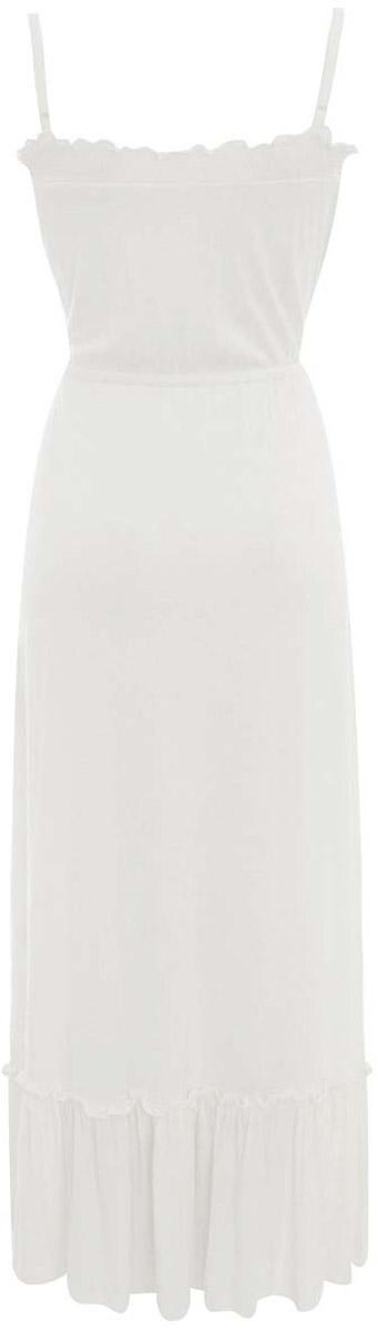 Платье14006064/16/1200NПлатье oodji Ultra на лямках исполнено из плотной мягкой эластичной струящейся ткани. Изделие имеет длину макси и оформлено оборками по подолу юбки и кружевами на груди. Имеются завязки на талии.