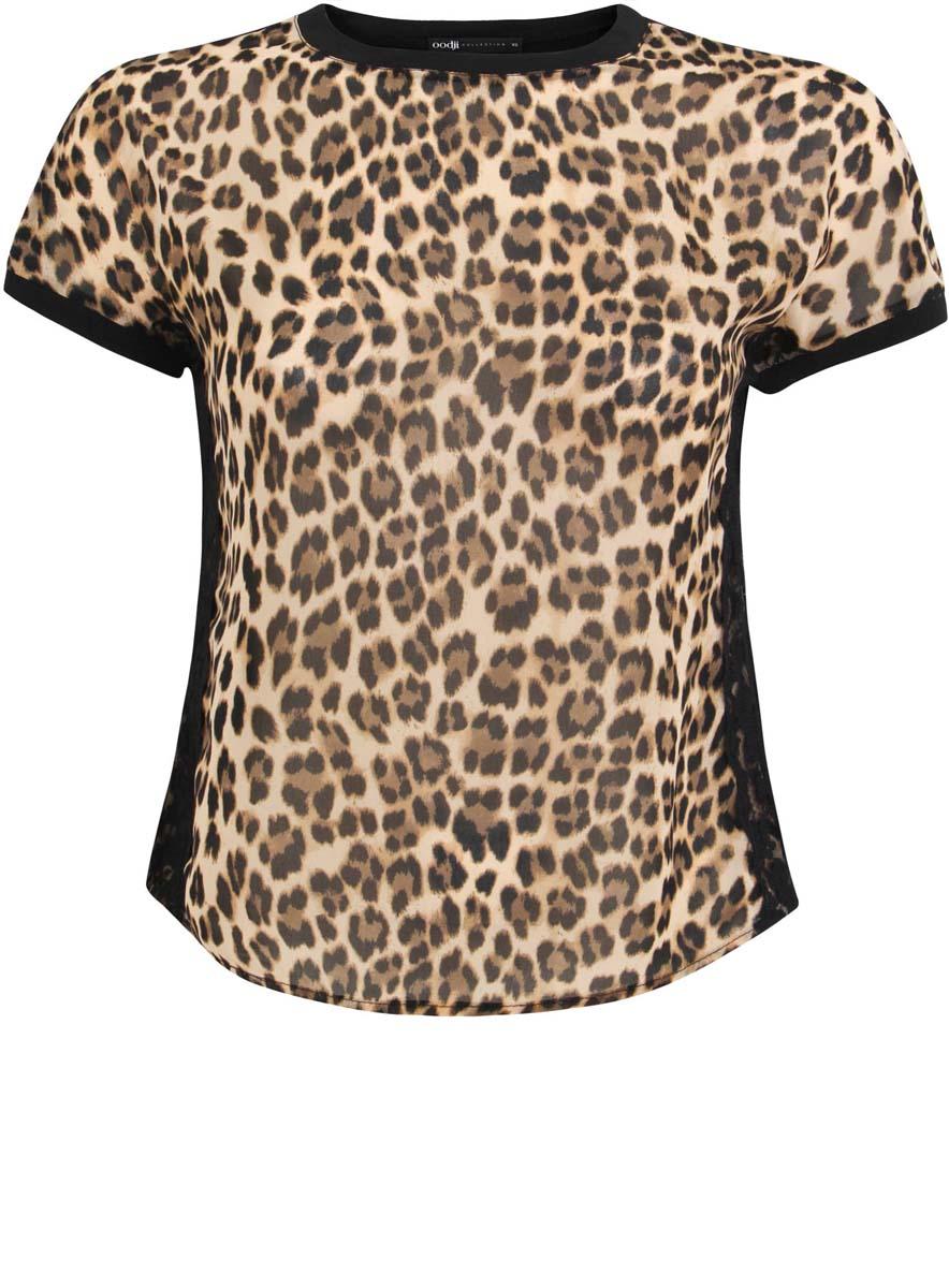 Блузка21308312/42530/3329AСтильная женская блузка oodji Collection выполнена из полиэстера с добавлением полиуретана. Модель с круглым вырезом горловины и короткими рукавами оформлена оригинальным принтом.