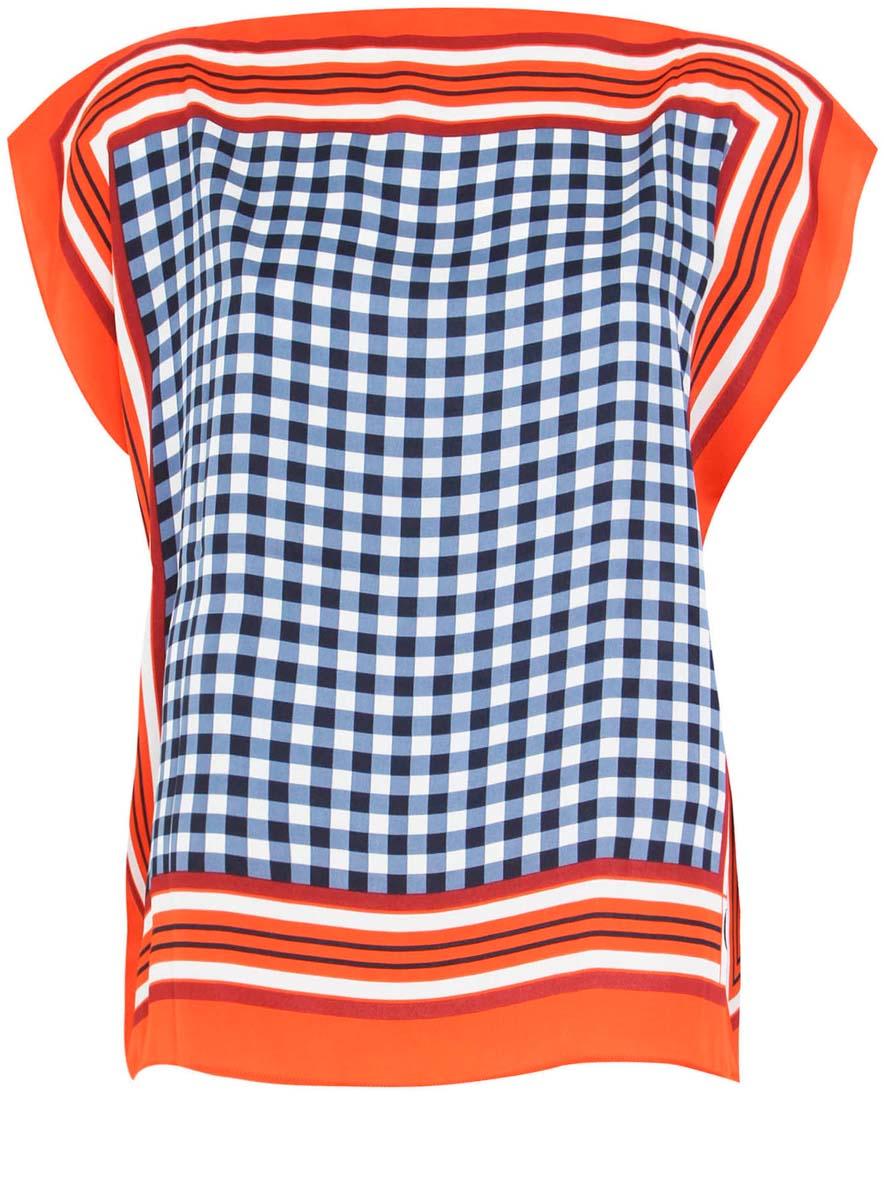 Блузка21400373/24446/5575CЖенская блузка oodji Collection выполнена из 100% полиэстера. Оригинальная модель с цельнокроеным рукавом оформлена интересным принтом.