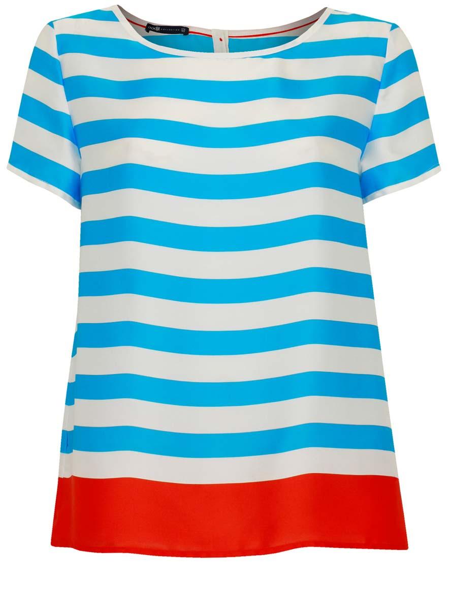 Блузка21412114/15014/7545SЖенская блузка oodji Collection изготовлена из качественного полиэстера. Модель с короткими рукавами и круглым вырезом горловины застегивается сзади сверху на пуговицы. Блузка оформлена принтом с крупными полосами.