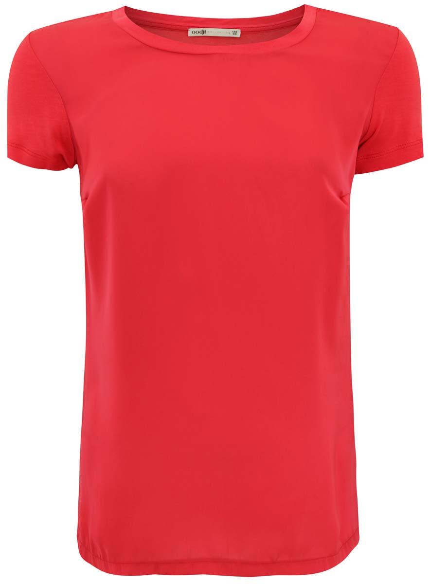 Футболка21301355/35408/4D00NСтильная женская футболка oodji Collection изготовлена из качественного комбинированного материала. Модель с круглым вырезом горловины и короткими рукавами выполнена в лаконичном дизайне.