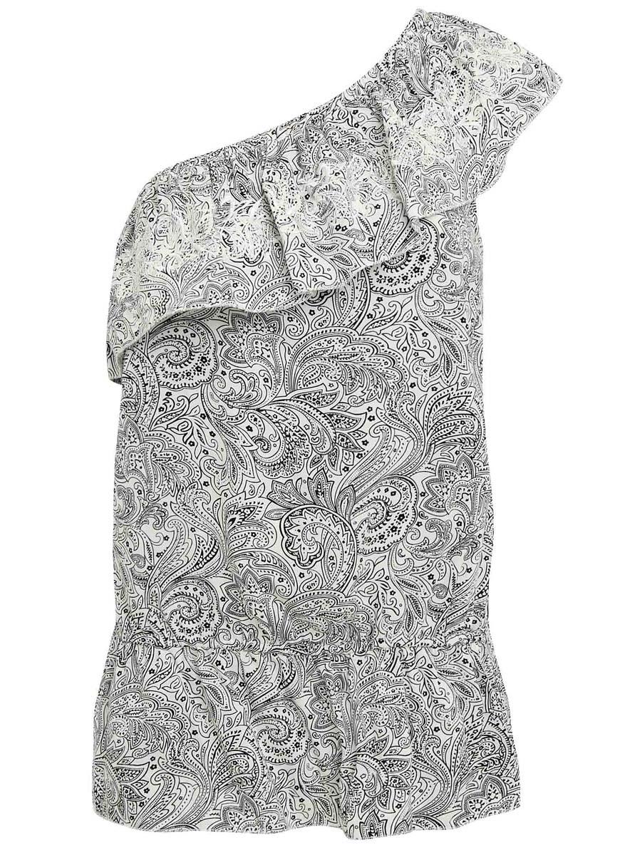11400386-1/26346/1229EЖенская блузка oodji Ultra выполнена полностью из вискозы. Ассиметричная модель на одно плечо с оборкой и эластичной резинкой на талии. Блузка оформлена этническим принтом.