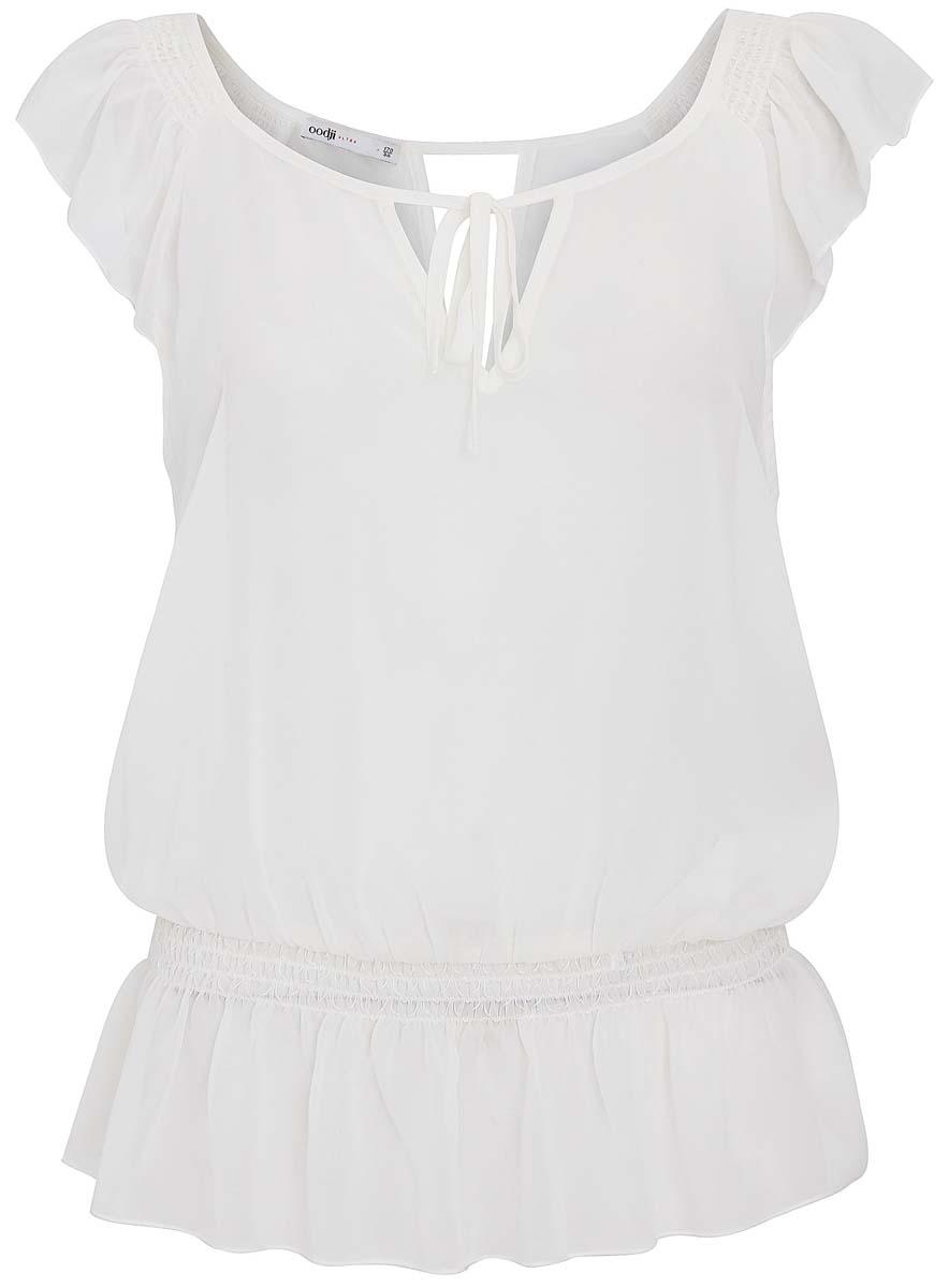 11408041/14879/1200NЖенская блузка oodji Ultra полностью выполнена из полиэстера. Модель свободного кроя с круглым вырезом горловины, завязывающимся спереди на завязки и короткими рукавами-крылышками. На поясе блузки имеется эластичная резинка.