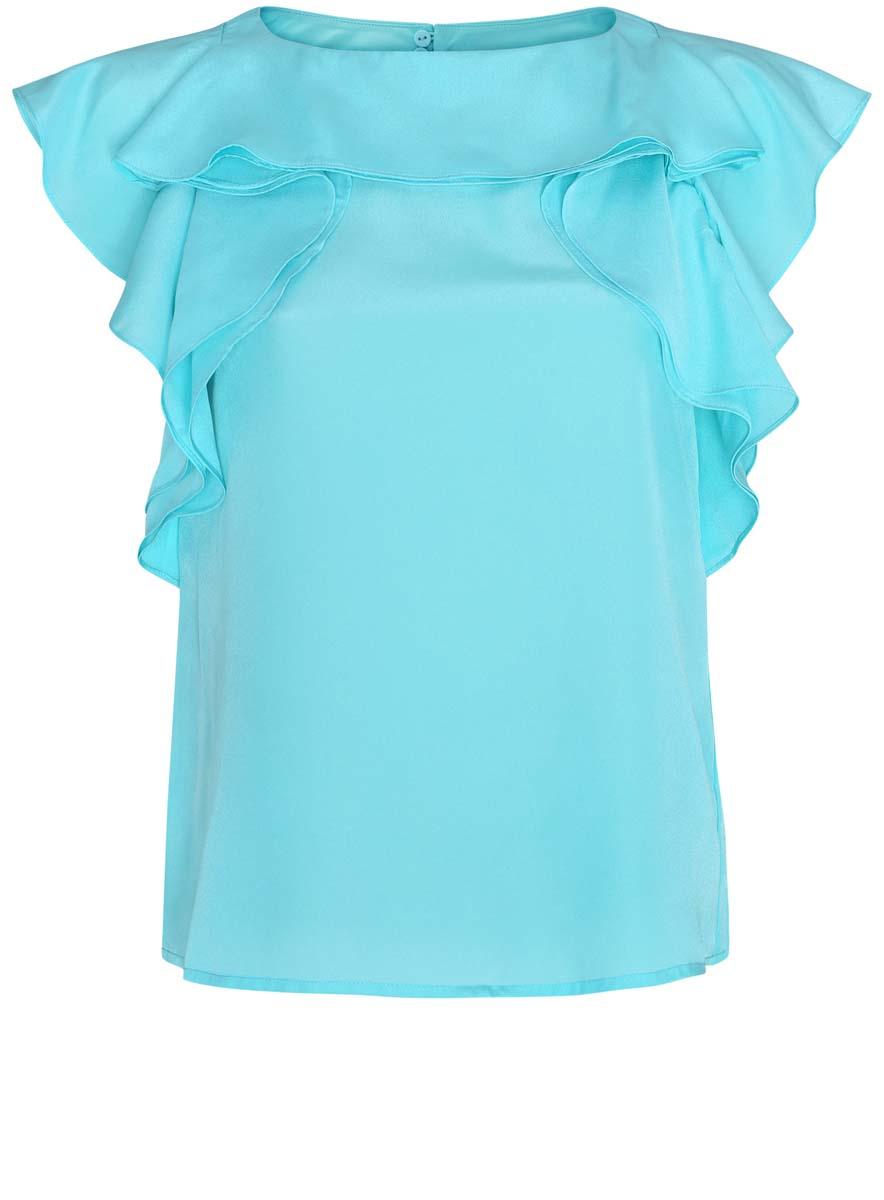 11401252/43311/7300NЖенская блуза oodji Ultra с круглым вырезом горловины и без рукавов выполнена из высококачественного полиэстера. Блузка имеет свободный крой и застегивается на пуговицы на спинке. Проймы рукавов и вырез горловины украшены крупными воланами.