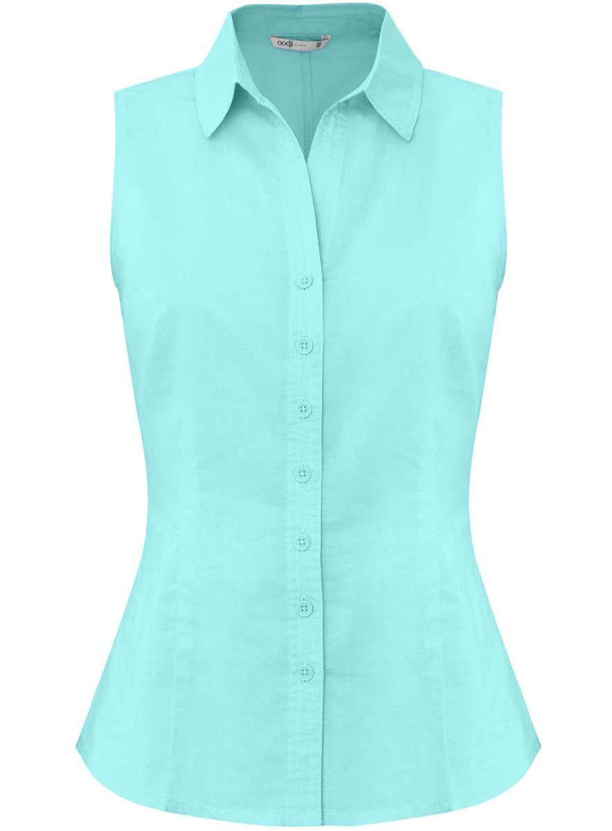 Блузка11405063-6/26491/4000NЖенская блузка приталенного кроя oodji Ultra выполнена из хлопка. Модель с отложным воротником, спереди застегивается на пуговицы. Изделие дополнено вытачками.