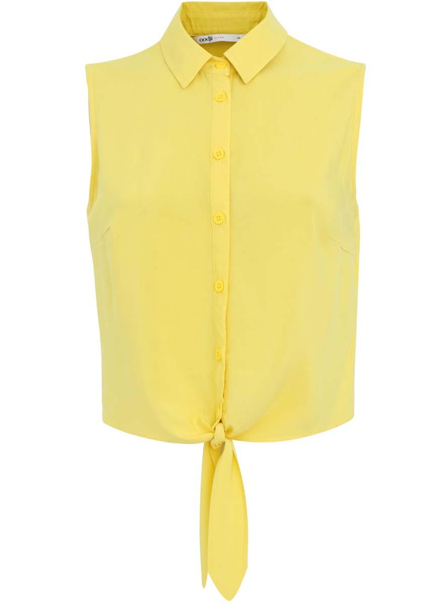 Блузка11400419/42339/5200NЖенская блуза oodji Ultra с отложным воротником и без рукавов выполнена из натуральной вискозы. Блузка застегивается на пуговицы спереди. Низ изделия дополнен завязками.
