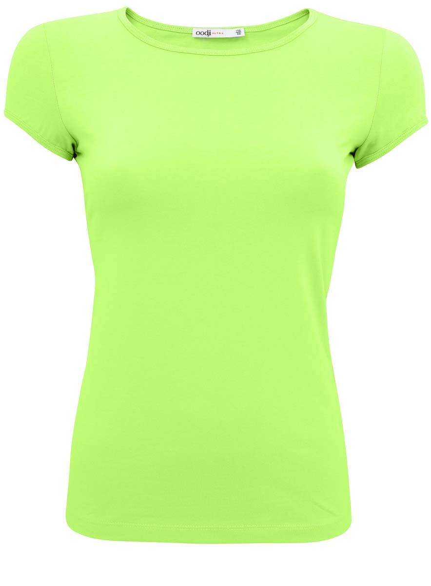 Футболка11301313-7/35582/7000NЖенская футболка oodji Ultra изготовлена из хлопка с добавлением полиуретана. Приталенная модель выполнена с круглой горловиной и короткими рукавами. Ворот и рукава отделаны эластичным кантом в тон футболки.