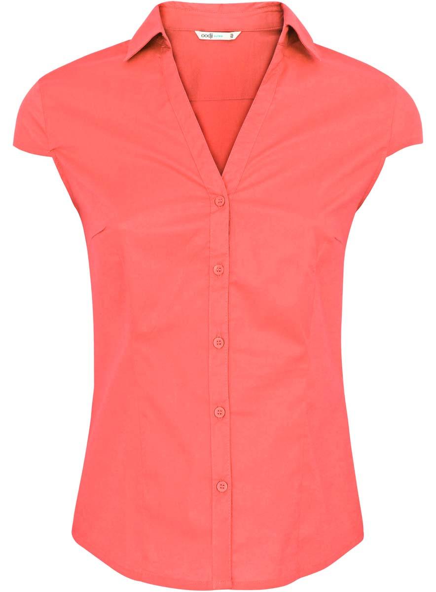 Блузка11402089/33582/4500NСтильная женская блузка oodji Ultra выполнена из хлопка с добавлением полиуретана. Модель с отложным воротником и короткими рукавами застегивается на пуговицы.