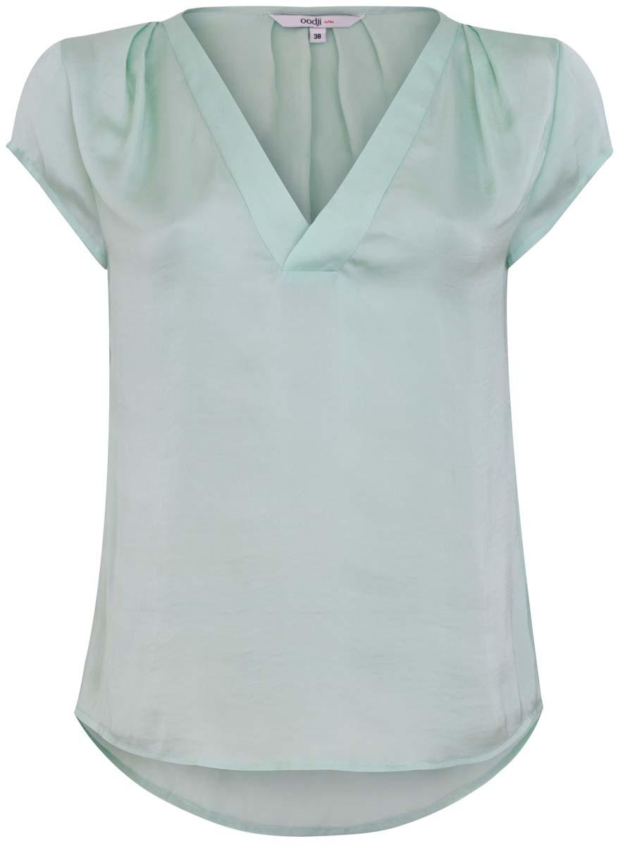 Блузка11411100/45348/6500NЖенская блуза oodji Ultra с короткими рукавами и V-образным вырезом горловины выполнена из высококачественного полиэстера. Модель украшена декоративными складками на плечах.