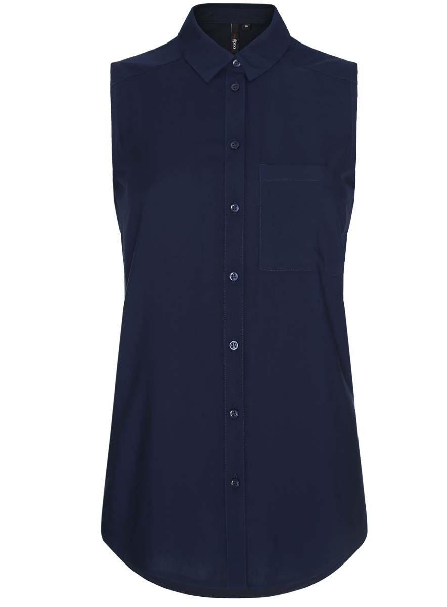 Блузка11411108B/45470/7900NУдлиненная женская блуза oodji Ultra с отложным воротником и без рукавов выполнена из натуральной вискозы. Блузка застегивается на пуговицы спереди. На груди расположен накладной карман. Спинка изделия оформлена декоративными складками.
