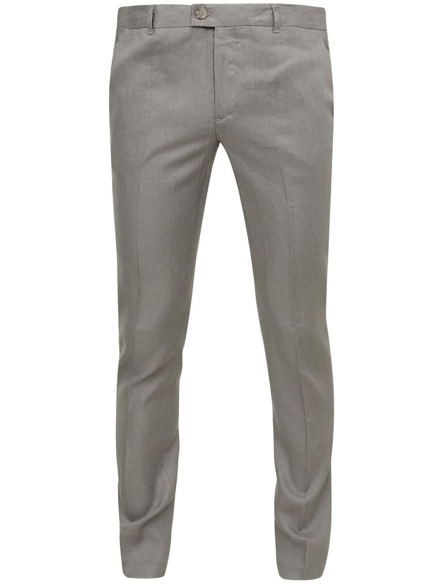 Брюки2B210003M/34263N/2000NСтильные мужские брюки oodji Basic изготовлены из натурального 100% льна. Модель застегивается на пуговицы в поясе и ширинку на застежке-молнии, имеются шлевки для ремня. Спереди расположены два открытых прорезных кармана, сзади - два прорезных кармана на пуговицах. Модель выполнена в однотонном классическом дизайне и имеет перманентные стрелки.
