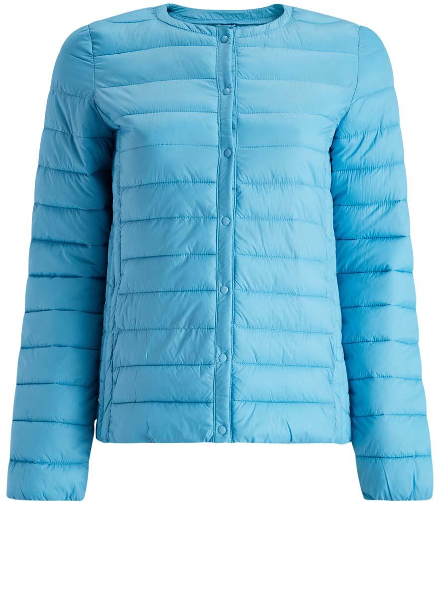 Куртка10204040/45638/7300NЖенская куртка oodji Ultra c длинными рукавами и круглым вырезом горловины выполнена из прочного полиамида. Наполнитель - синтепон. Модель застегивается на кнопки спереди. Изделие имеет два втачных кармана спереди и два внутренних накладных кармана.