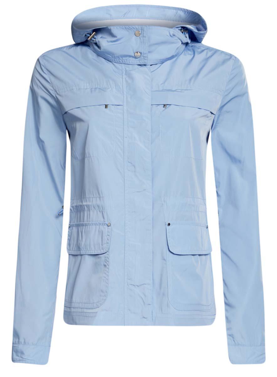 Куртка10303050/24058/4D00NЛегкая женская куртка oodji Ultra изготовлена из плотного полиэстера. Модель с длинными рукавами и воротником-стойкой застегивается спереди на молнию и кнопки. Съемный капюшон дополнен резинкой-утяжкой со стопперами. Куртка сверху оснащена двумя карманами на застежках-молниях, внизу - двумя карманами под клапанами на кнопках. На талии имеется резинка утяжка со стопперами.