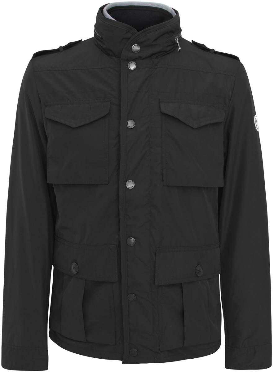 Куртка1B401001M/23466N/7900NСтильная мужская куртка oodji Basic изготовлена из полиэстера. Модель застёгивается на молнию и кнопки. Спереди на куртке расположены четыре накладных кармана под клапанами, два н кнопках и два на молниях. С внутренней стороны - прорезной карман на застежке-молнии. Манжеты рукавов фиксируются пуговицами. Ширину низа куртки можно регулировать кнопками, расположенными сзади. Плечи дополнены декоративными хлястиками на пуговицах, воротник декорирован молнией.