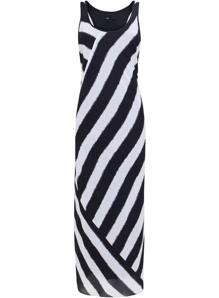 21900324/17288/1279SПлатье oodji Collection выполнено полностью из полиэстера. Модель макси длины с круглым вырезом горловины и без рукавов. Платье оформлено принтом в полоску.
