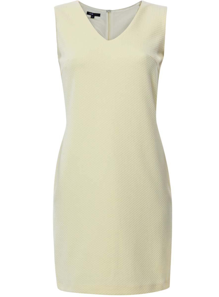 Платье24015003/45211/5000NПлатье oodji Collection без рукавов исполнено из мягкой текстурной ткани. Имеет V-образный вырез воротника. Застегивается сзади на молнию и крючок.