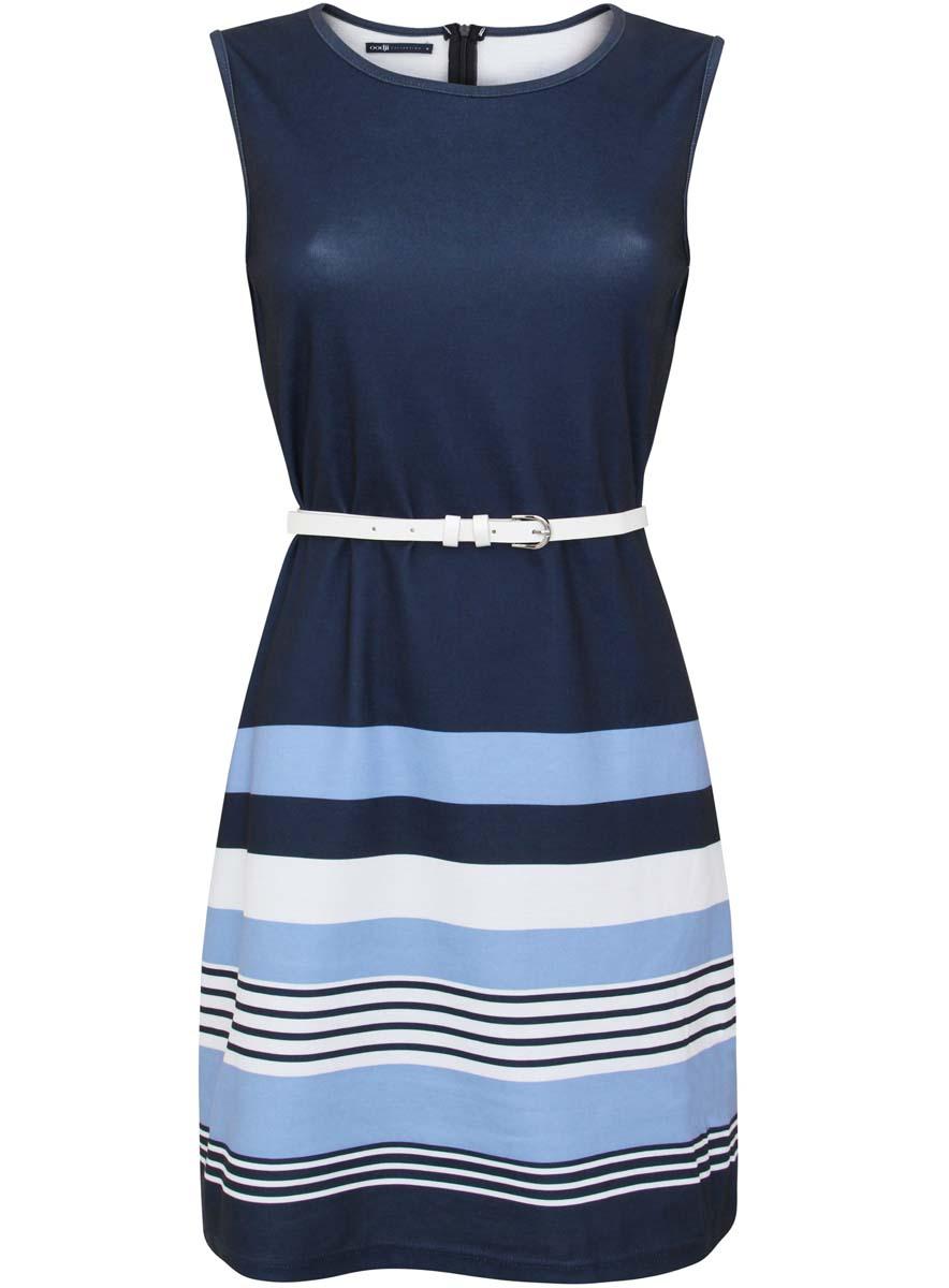 24005126/18610/7970SТрикотажное платье без рукавов oodji Collection изготовлено из полиэстера с добавлением эластана. Модель с круглым вырезом застегивается сзади на молнию. Платье дополнено оригинальным поясом из искусственной кожи.