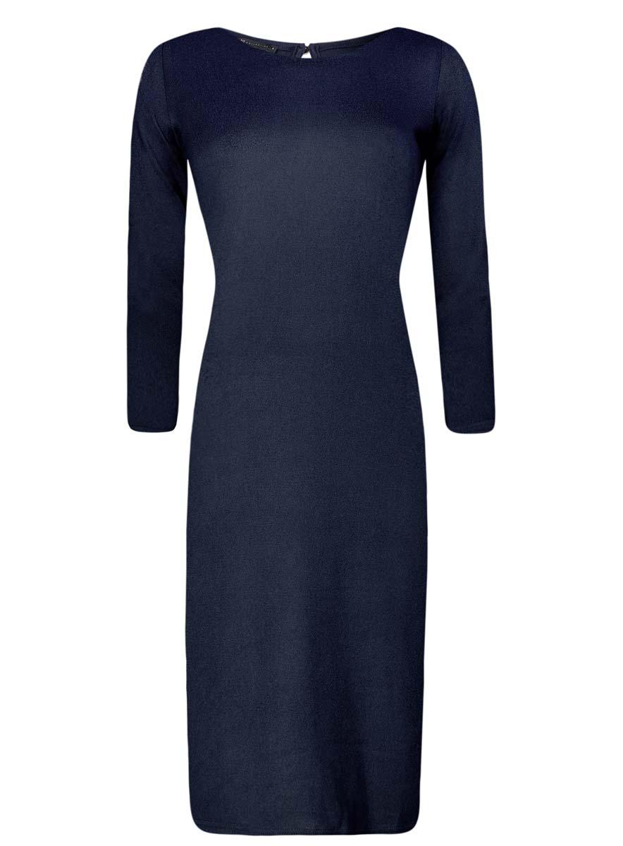 Платье24001070-5/15640/2945EПлатье oodji Collection исполнено из мягкой облегающей ткани. Имеет вырез-капельку на спинке, застегивающийся на пуговицу и рукава 7/8. Изделие плотно садится по фигуре.