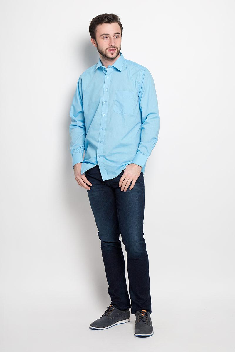 AquaОтличная мужская рубашка, выполненная из хлопка с добавлением полиэстера. Рубашка прямого кроя с длинными рукавами и отложным воротником застегивается на пуговицы. Модель дополнена одним нагрудным карманом.