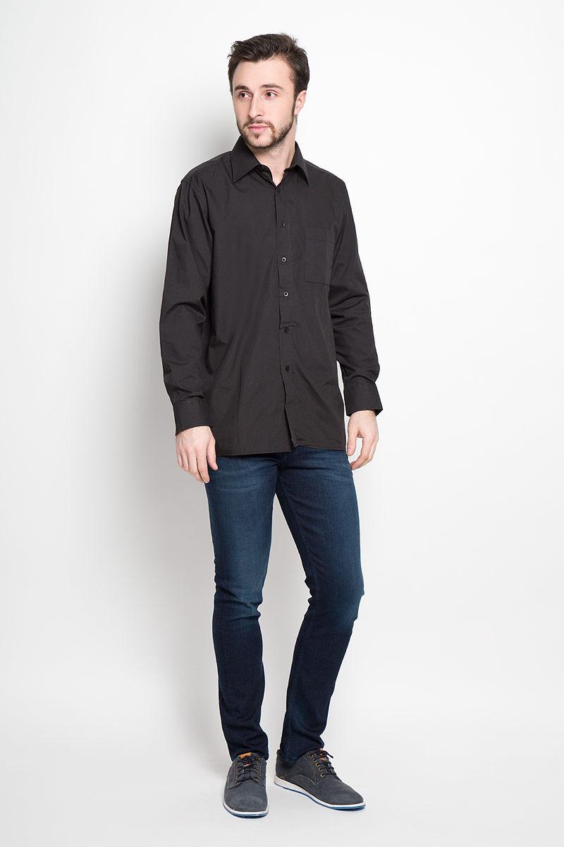 DF 420Отличная мужская рубашка, выполненная из хлопка с добавлением полиэстера. Рубашка прямого кроя с длинными рукавами и отложным воротником застегивается на пуговицы. Модель дополнена одним нагрудным карманом.