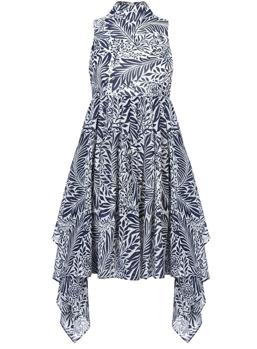 Платье11900222/35271/1079FСтильное платье oodji Ultra выполнено полностью из полиэстера. Модель с ассиметричным подолом, воротником-стойкой и без рукавов застегивается на спине на молнию.