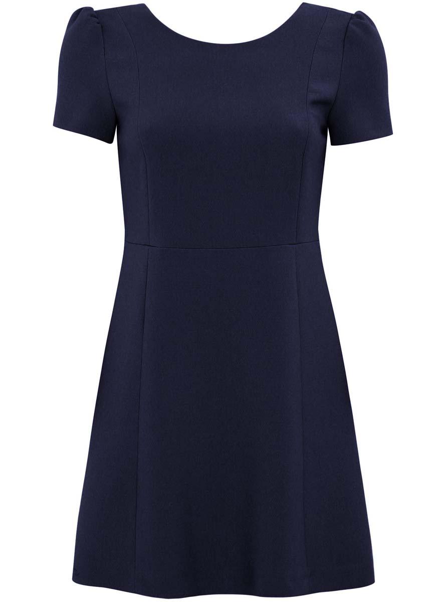 Платье11902157/38095/6500NТрикотажное платье oodji Ultra изготовлено из полиэстера с добавлением вискозы и эластана. Верх платья выполнен с короткими рукавами и круглым вырезом воротничка. Низ платья слегка расклешен. На спинке имеется V-образный вырез и длинная металлическая застежка-молния. У модели имеется подкладка.