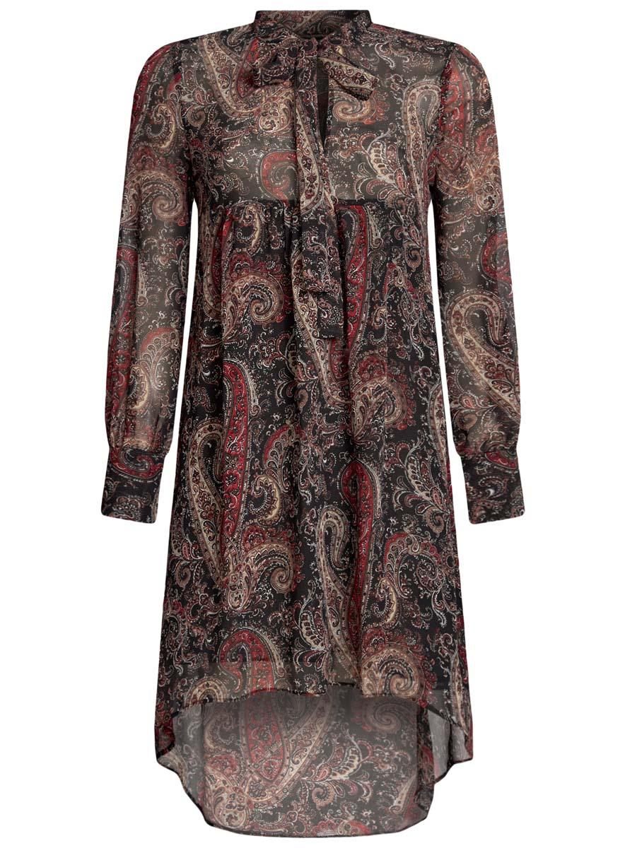 Платье11913032/38375/2029AПлатье oodji Ultra исполнено из воздушной, легкой ткани. Имеет свободный крой и V-образный вырез воротника, оформленный завязками под горлом. Платье выполнено с длинными рукавами-баллонами, застегивающимися на манжетах на пуговицы и ассиметричной юбкой, удлиненной сзади шлейфом.